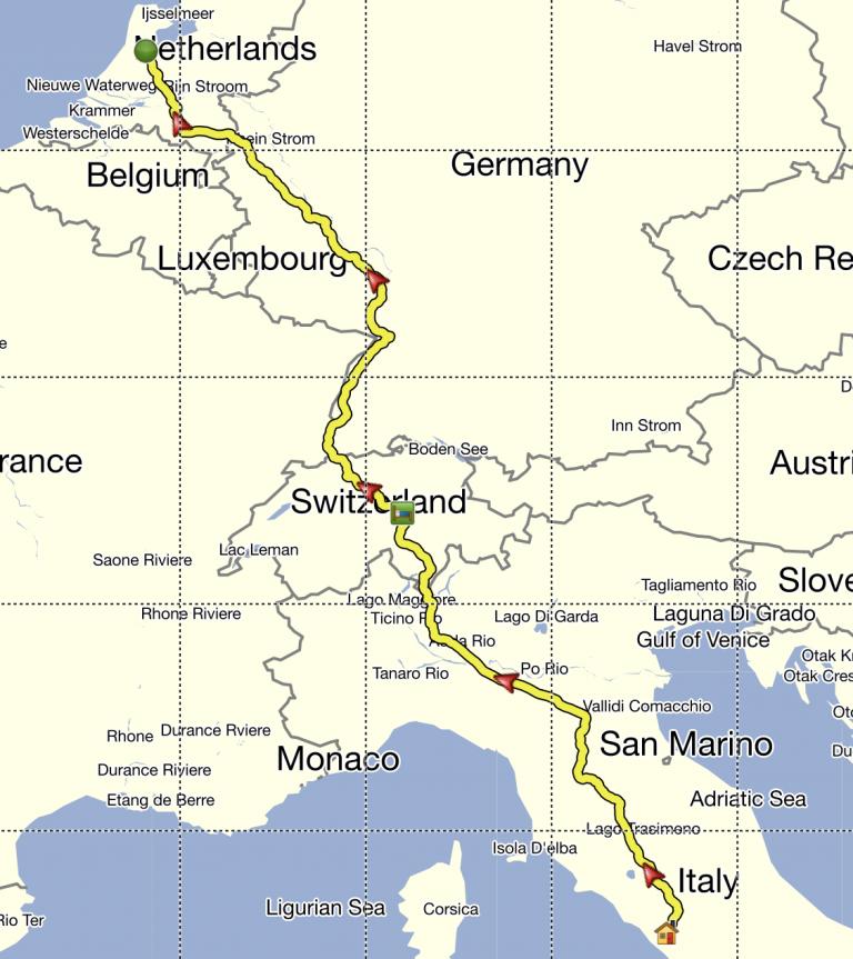 Italia-Olanda: percorso approssimativo